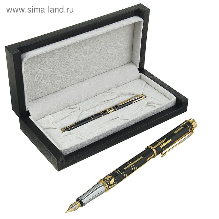 Ручка подарочная перьевая в кожзам футляре Креатив корпус черный с золотыми вставками