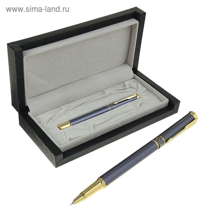 Ручка подарочная перьевая в кожзам футляре Модерн корпус мокрый альфальт с золотыми вставками