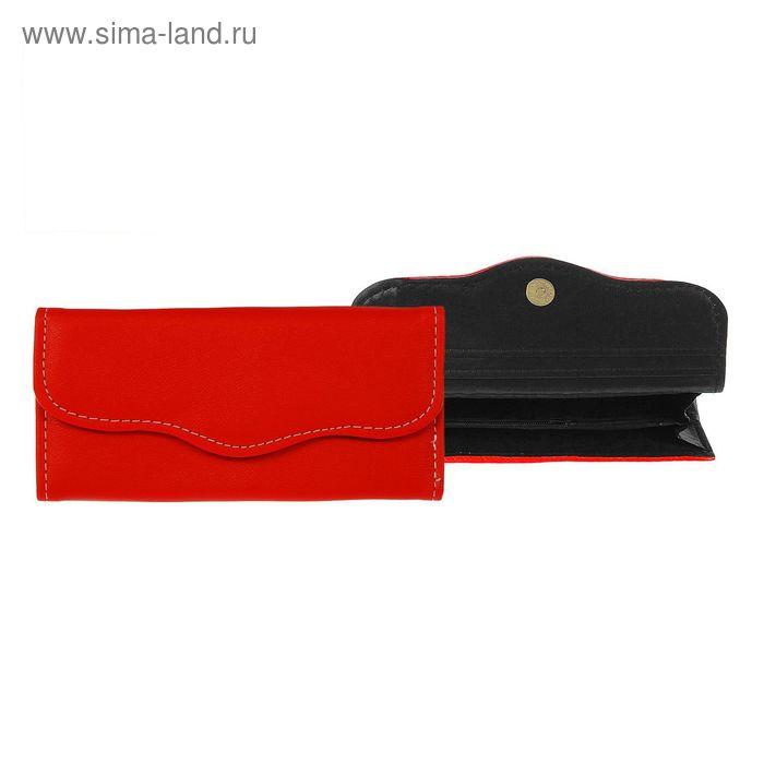 """Кошелёк женский на магните """"Классика"""", 3 отдела, отдел для карт, красный"""