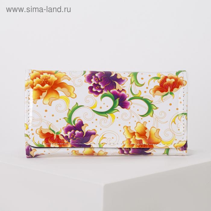 """Кошелёк женский на клапане """"Цветочный рай"""", 4 отдела, отдел на рамке, отдел для карт, белый"""