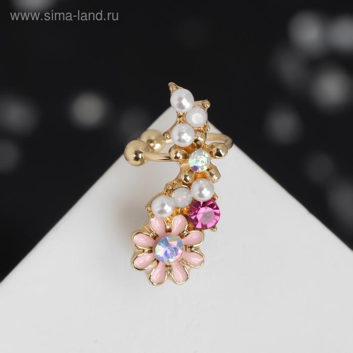 """Серьга """"Каффа"""" цветы полянка, цвет розовый в золоте"""