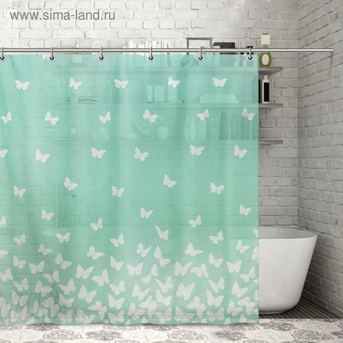 """Штора для ванной 180х180 см """"Полёт бабочек"""", полиэстер"""