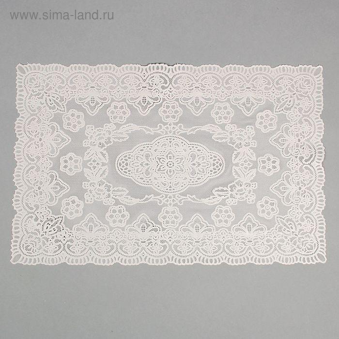 Салфетка ажурная ПВХ 46х30 см, цвет белый