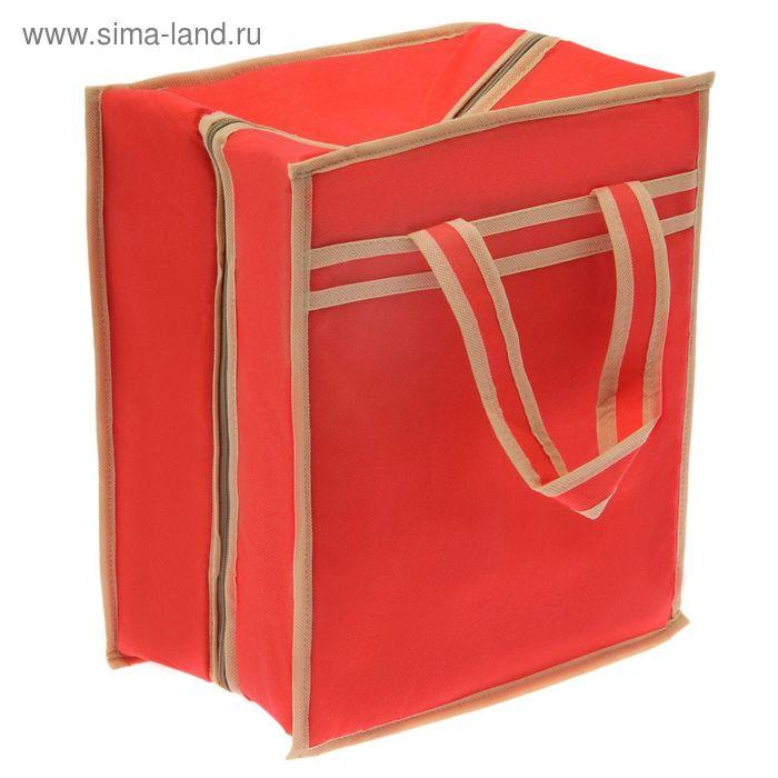 Сумка для обуви 4 пары, 35х30х20 см, цвет красный