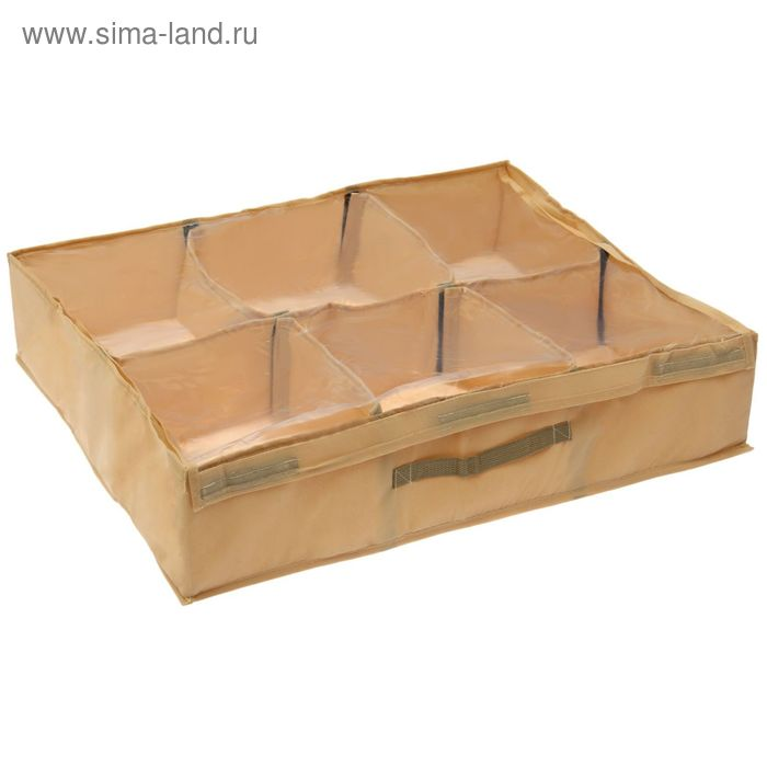 Короб для обуви 6 пар, 69х58х14 см, цвет бежевый