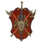 Сувенирное оружие «Геральдика на планшете» с головой демона, меч и два топора