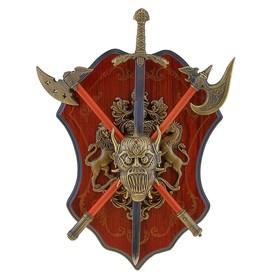 Сувенирное оружие «Геральдика на планшете» с головой демона, меч и два топора Ош