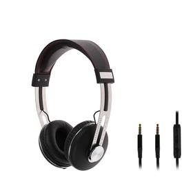 Наушники Luazon Hi-Fi LH -504, накладные, с микрофоном, регулировка громкости, чёрные