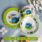 """Набор детской посуды """"Друзья"""", 3 предмета: кружка 230 мл, миска 400 мл, тарелка"""