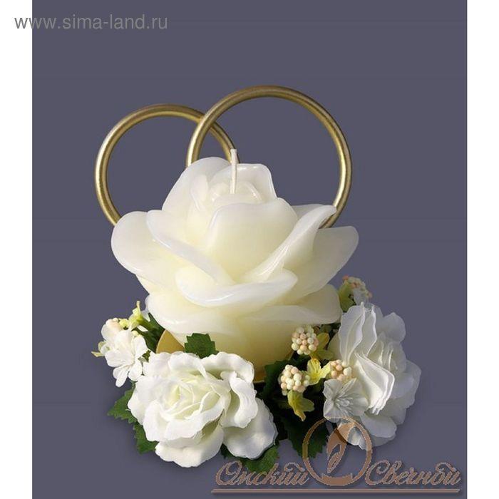 """Свеча мигающая """"Кольца и роза"""" кремовая"""