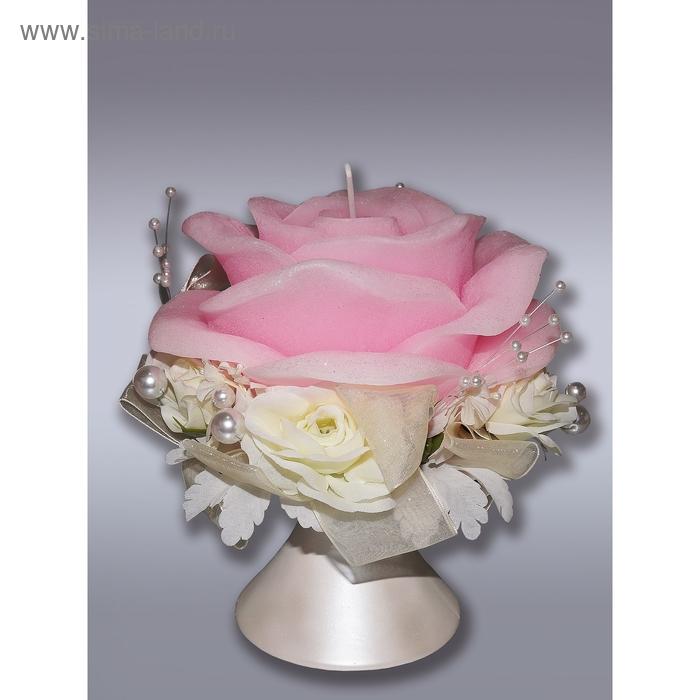 Свеча супер роза свадебная с подсвечником розовая