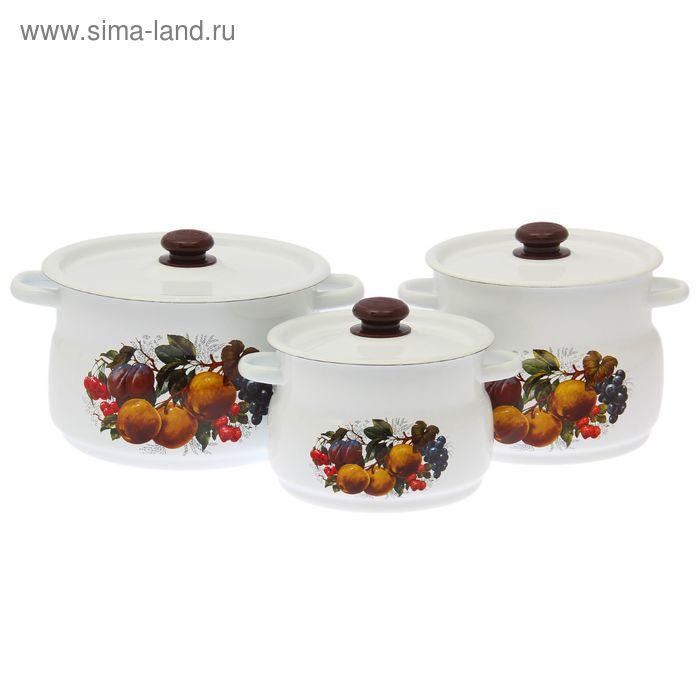 """Набор кастрюль """"Йогурт"""", 3 предмета: 4 л, 5,5 л, 8 л"""