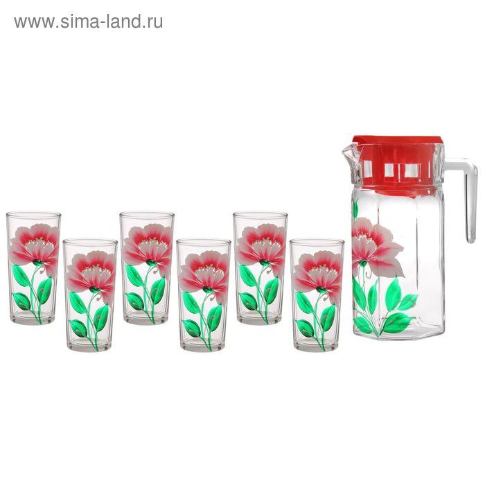"""Набор питьевой """"Пион"""": кувшин 1,25 л, 6 стаканов 230 мл"""", подарочная упаковка"""