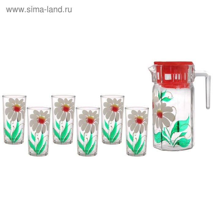 """Набор питьевой """"Ромашка"""": кувшин 1,25 л, 6 стаканов 230 мл, подарочная упаковка"""