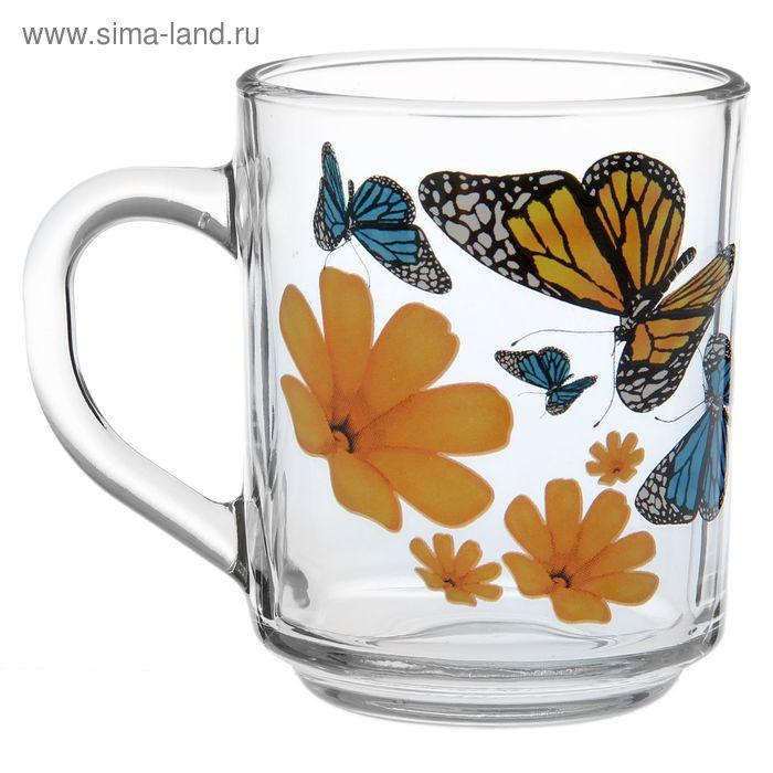 """Кружка 200 мл """"Бабочки и оранжевые цветы"""""""