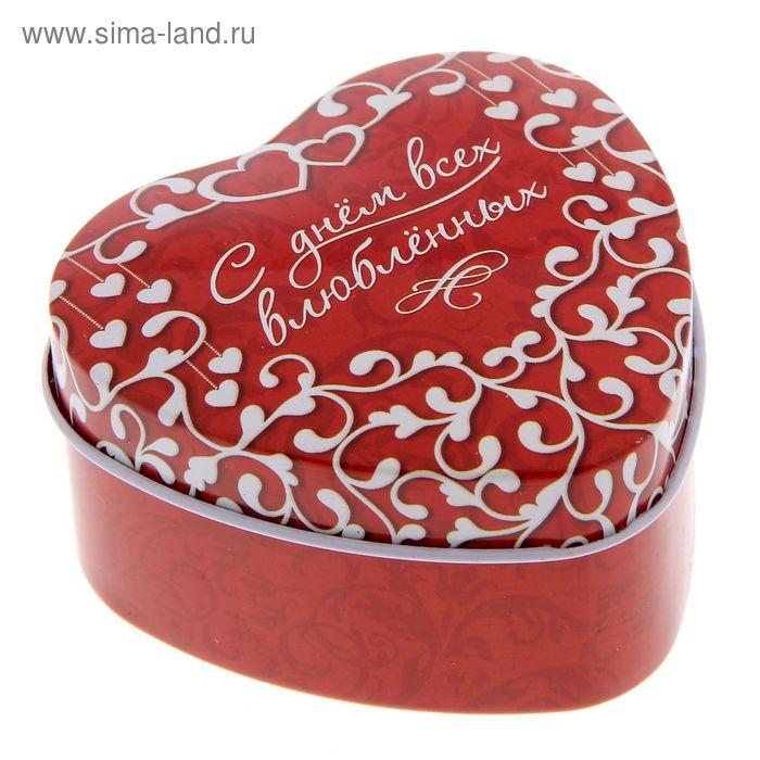"""Жестная шкатулка в форме сердца """"С днем всех влюбленных"""""""