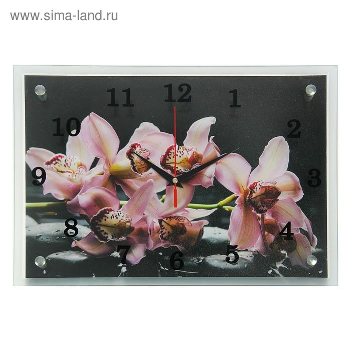 """Часы настенные прямоугольные """"Фиолетовые орхидеи"""", 25х35 см микс"""