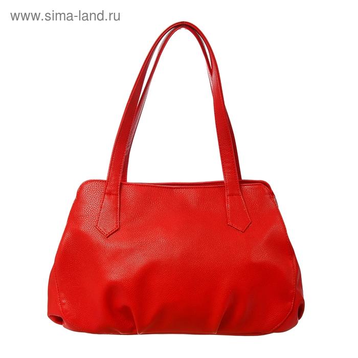 Сумка женская на молнии, 1 отдел, наружный карман, красная