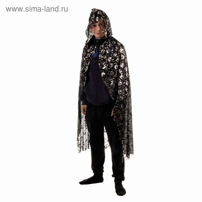 """Карнавальный плащ """"Летучие мыши в кольцах"""", серебро на чёрном, длина 86 см"""