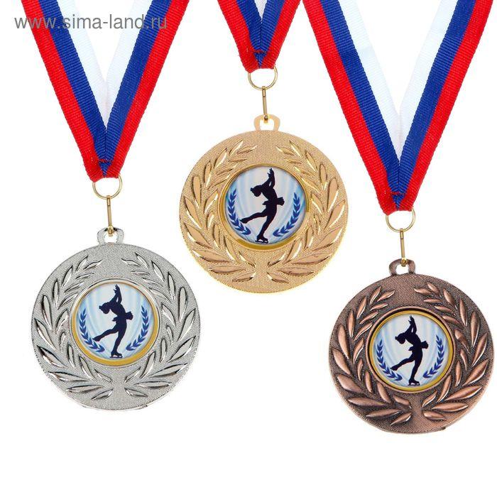 """Медаль тематическая 076 """"Фигурное катание"""", цвет бронз, диам 5 см"""