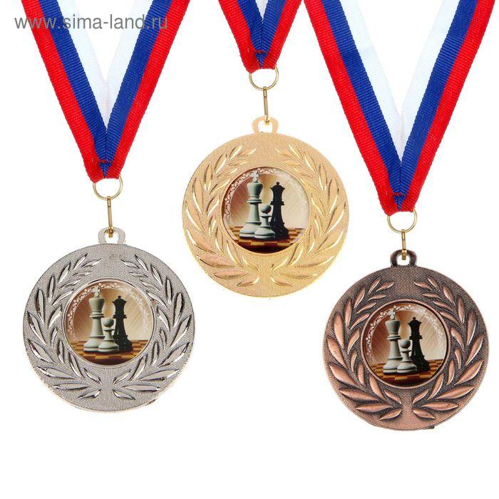 """Медаль тематическая 079 """"Шахматы"""", цвет сер, диам 5 см"""