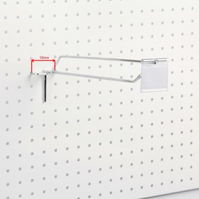 Крючок одинарный с ценникодержателем для перфорированной панели L20, d4,8мм, цвет хром Ош