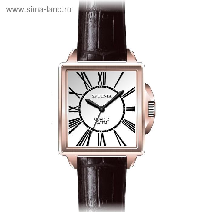 """Часы наручные мужские """"Спутник"""", металлический циферблат, коричневый ремешок"""
