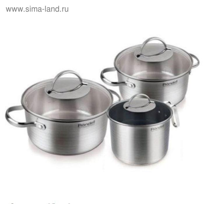 Набор посуды 6 предметов: кастрюли 2 шт: 2,8 л, 4,9 л, молочник 2 л, крышки 3 шт