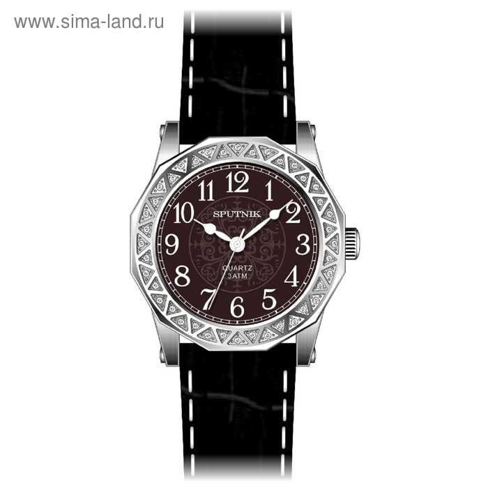 """Часы наручные женские """"Спутник"""", коричневый циферблат, черный ремешок"""