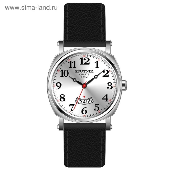 """Часы наручные мужские """"Спутник"""", металлический циферблат, черный ремешок"""