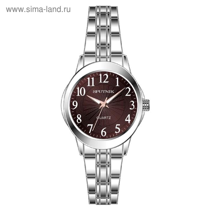 """Часы наручные женские """"Спутник"""", коричневый циферблат, металлический браслет"""