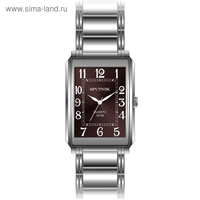 """Часы наручные мужские """"Спутник"""", коричневый циферблат, металлический браслет"""