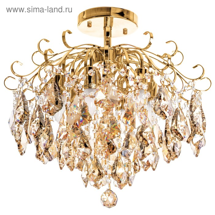 "Люстра хрусталь ""Карамель"" 6 ламп 60W Е27 основание золото 55х55х45 см"