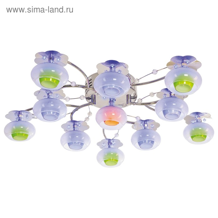 """Люстра галогенная со светодиодами """"Рассвет"""" 11 ламп 12W G4 основание хром с пультом 62х62х15 см   15"""