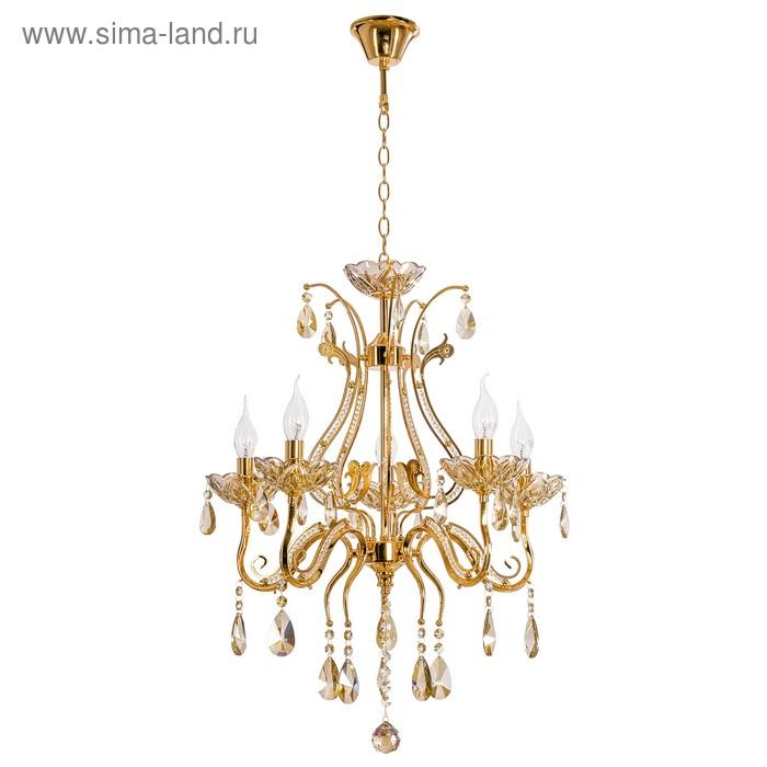 "Люстра хрусталь классика ""Ампир"" 5 ламп 40W Е14 основание античное золото 53х53х120 см"