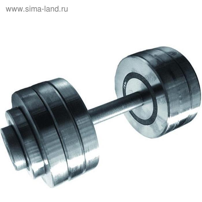 Гантель разборная 34 кг, хромированная сталь