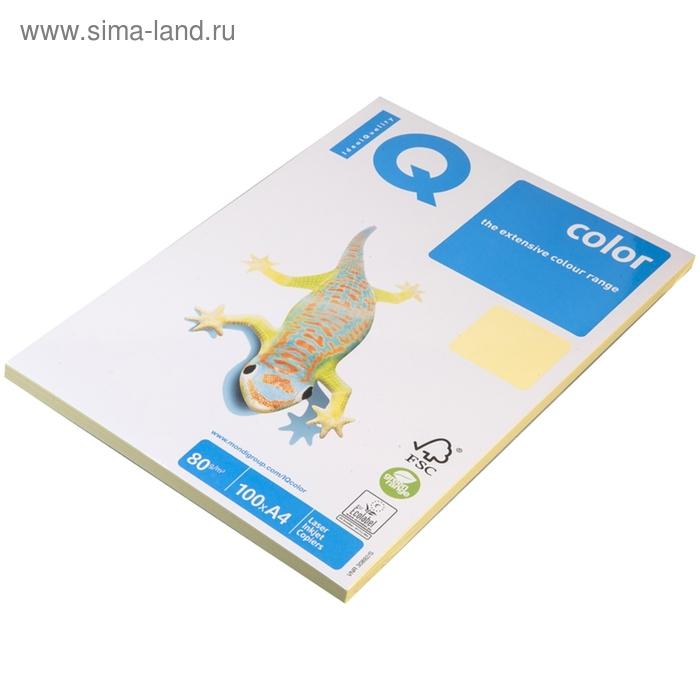 Бумага цветная IQ COLOR Pale (А4,80г,YE23-желтый) пачка 100л, А+