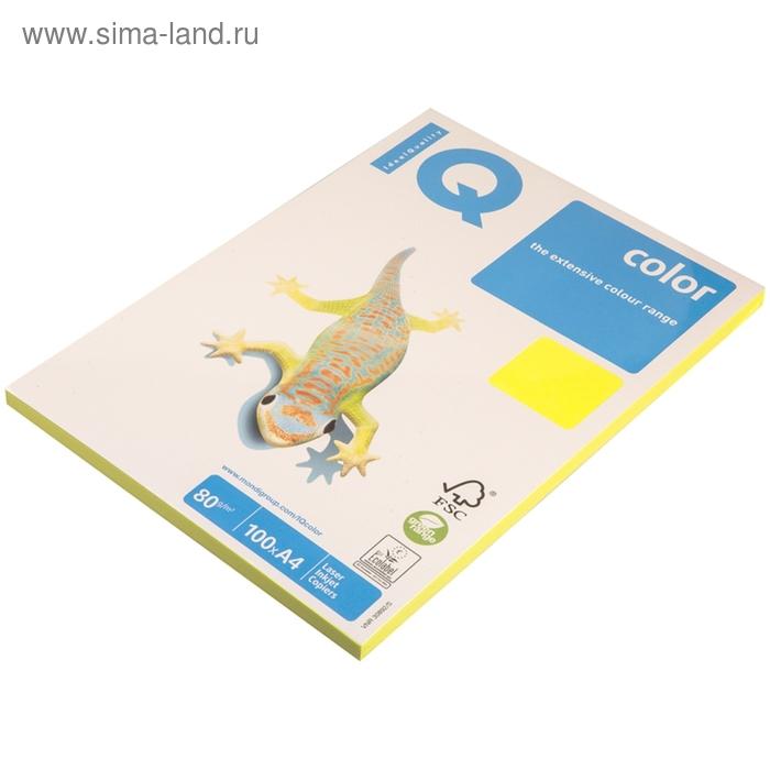Бумага цветная IQ COLOR Neon (А4,80г,NEOGB-желтый неон) пачка 100л, А+