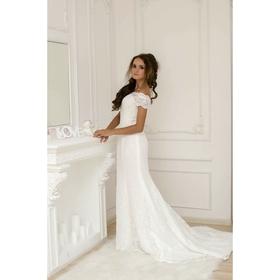 """Свадебное платье """"Жозефина""""  молочное, с шлейфом, ручная вышивка стеклярусом 42-44 р-р"""