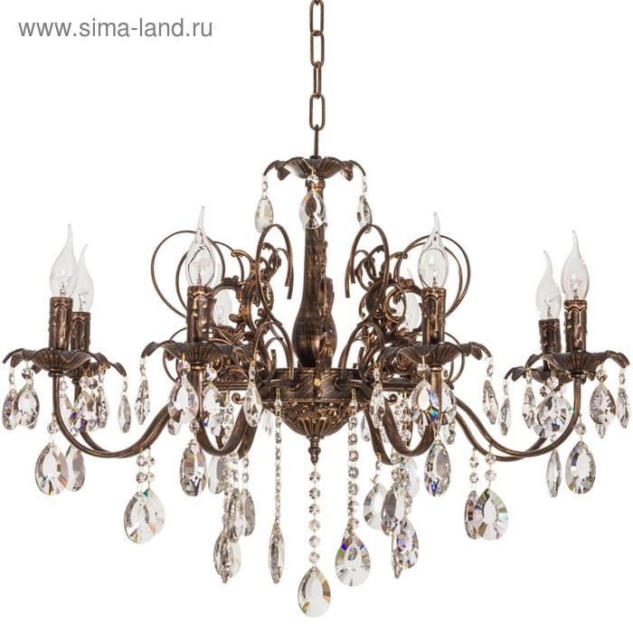 """Люстра хрусталь классика """"Бронзовый век"""" 8 ламп 40W Е14 бронза с золотом основание 80х80х90 см   155"""