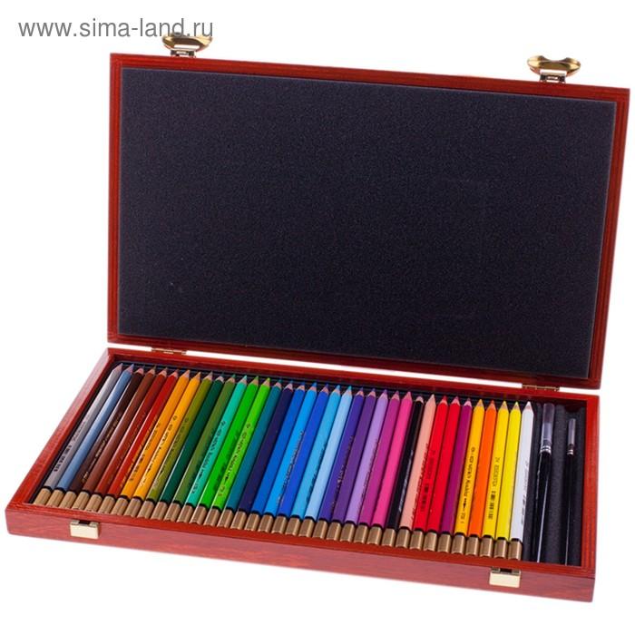 Карандаши художественные цветные акварельные K-I-N Mondeluz, 36 цветов в деревянном пенале