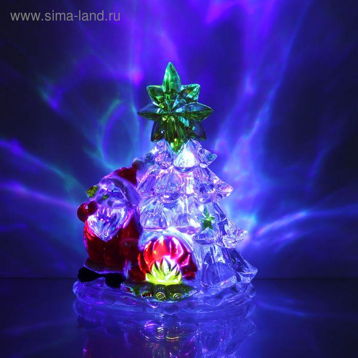 """Игрушка световая """"Дед мороз с елочкой"""" (батарейки в комплекте) 1 LED, RGB"""