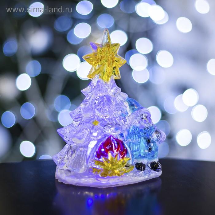 """Игрушка световая """"Снеговик с елочкой"""" (батарейки в комплекте) 1 LED, RGB"""