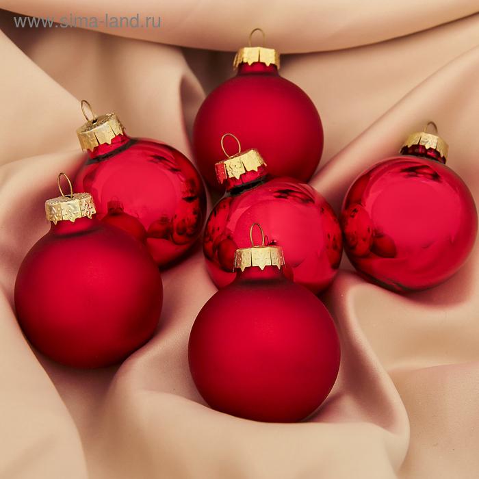 """Новогодние шары """"Глянцевые и матовые"""" красные (набор 6 шт.)"""