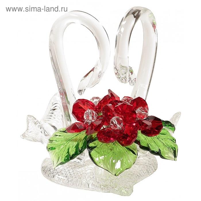 "Цветочная композиция со стразами ""Лебеди"" RED"
