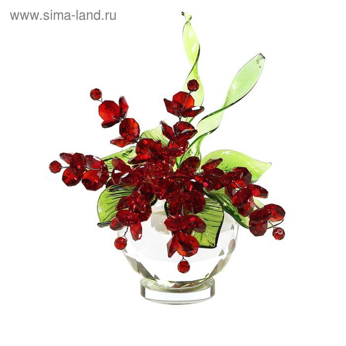 Хрустальные цветы в вазочке №51 RED