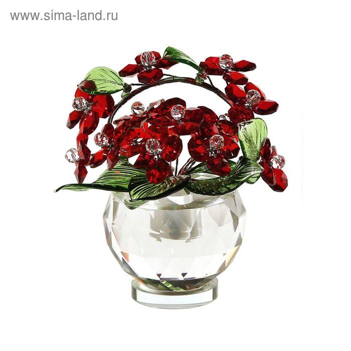 Хрустальные цветы в вазочке №52 RED
