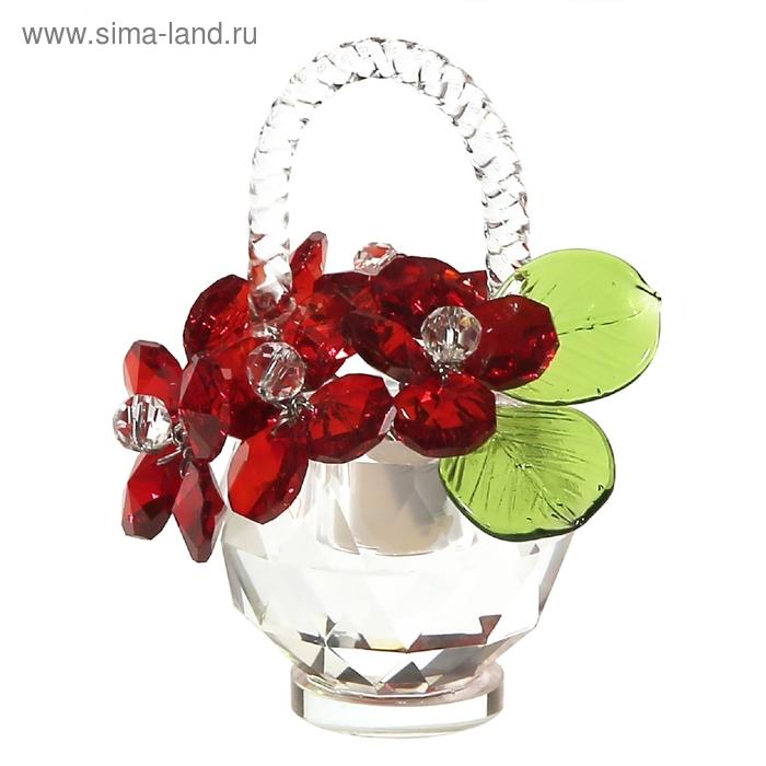 Хрустальные цветы в корзинке №32 RED