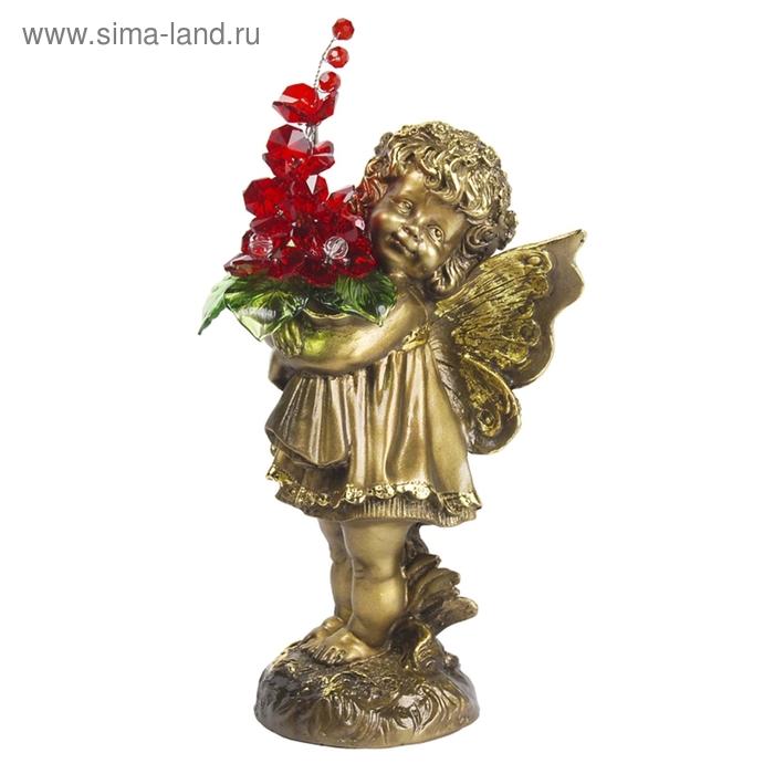 """Статуэтка """"Маленькая фея с хрустальными цветами"""" RED"""