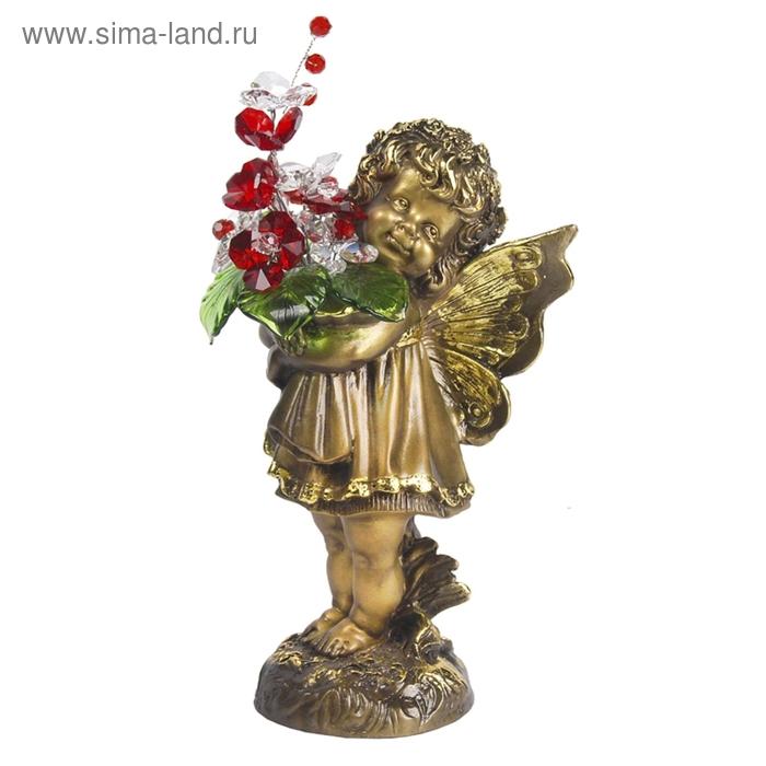 """Статуэтка """"Маленькая фея с хрустальными цветами"""" Сr r"""